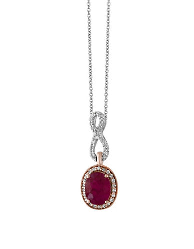 Effy Ruby, 14K White Gold, 14K Rose Gold and 0.16 TCW Diamond Pendant Necklace-RUBY-One Size