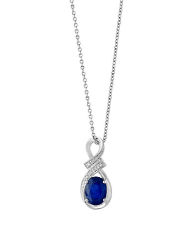 Effy Royale Bleu 14K White Gold Sapphire and 0.04TCW Diamond Pendant Necklace-SAPPHIRE-One Size