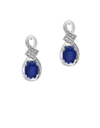 Effy Royale Bleu 14K White Gold Sapphire and 0.05TCW Diamond Drop Earrings-SAPPHIRE-One Size