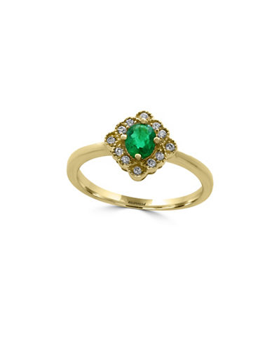 Effy Emerald, 14K Yellow Gold and 0.09 TCW Diamond Ring-EMERALD-7