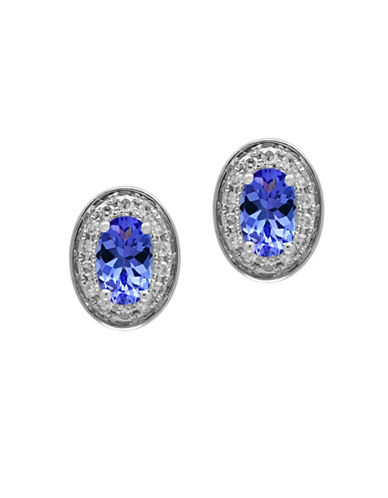 Effy 0.11 TCW Diamond, Tanzanite and 14K White Gold Earrings-TANZANITE-One Size