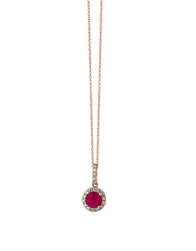 Effy 14K Rose Gold Ruby Pendant Necklace with 0.12 TCW Diamonds-RUBY-One Size