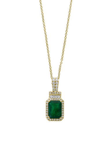 Effy 14K Yellow Gold and Emerald Pendant Necklace with 0.22 TCW Diamonds-GREEN-One Size