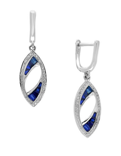 Effy 0.17 TCW Diamond, Natural Sapphire and 14K White Gold Earrings-SAPPHIRE-One Size
