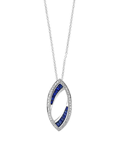 Effy Natural Sapphire, 0.25 TCW Diamond and 14k White Gold Knife-Edge Pendant Necklace-SAPPHIRE-One Size