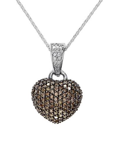 Effy 14K White Gold 0.94TCW Diamond and Espresso Diamond Heart Pendant Necklace-ESPRESSO-One Size