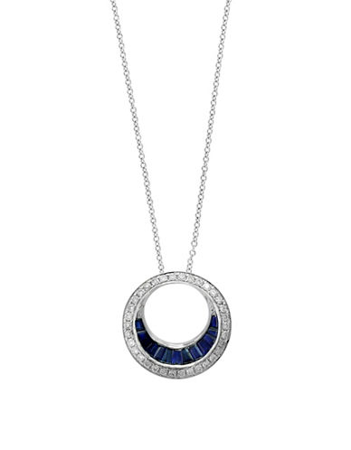 Effy 0.25 TCW Diamond, Natural Sapphire and 14k White Gold Pendant Necklace-SAPPHIRE-One Size
