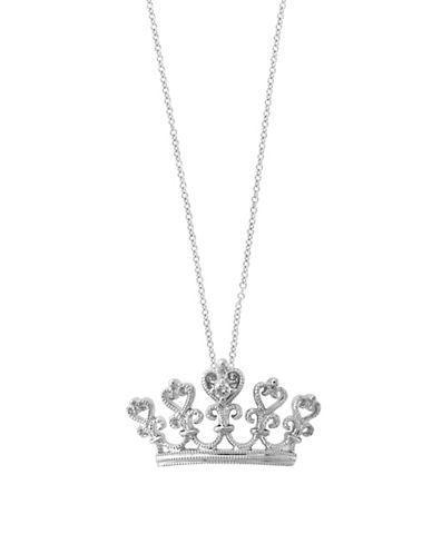 Effy 0.01 TCW Diamond and 14K White Gold Crown Pendant Necklace-WHITE GOLD-One Size