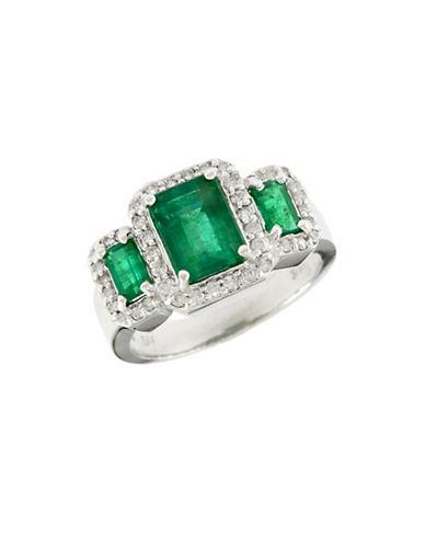 Effy 14K White Gold Diamond Emerald Ring-EMERALD-7
