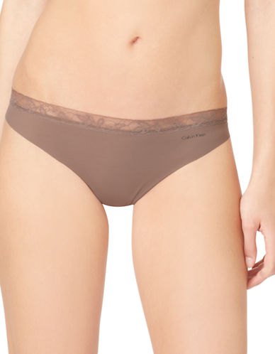 Calvin Klein Invisibles Lace Trim Thong-LIQUEUR-Large