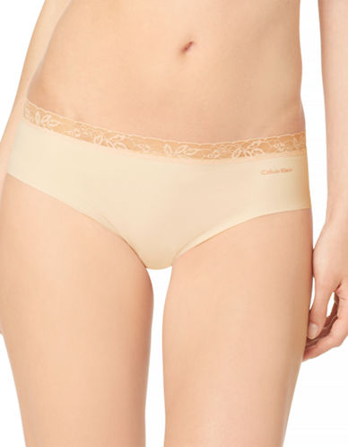 Calvin Klein Invisibles Lace Trim Hipsters-BARE-Small