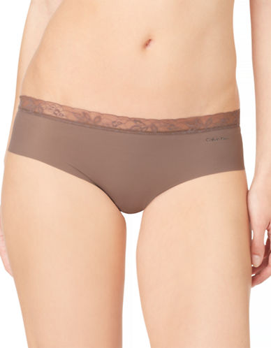 Calvin Klein Invisibles Lace Trim Hipsters-LIQUER-Medium