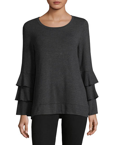 Style And Co. Scoop Neck Bell Sleeve Tunic-GREY-Medium