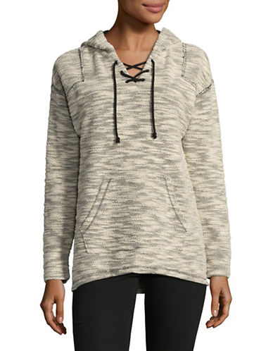 Style And Co. Lace-Up Pullover Hoodie-BLACK MULTI-Medium