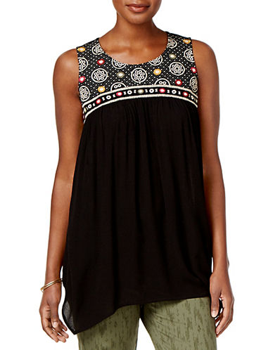 Style And Co. Embroidered Handkerchief-Hem Tunic-BLACK-Medium