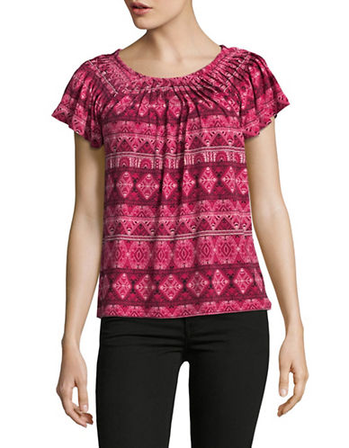 Style And Co. Petite Printed Pleat Neck Blouse-PINK-Petite X-Large