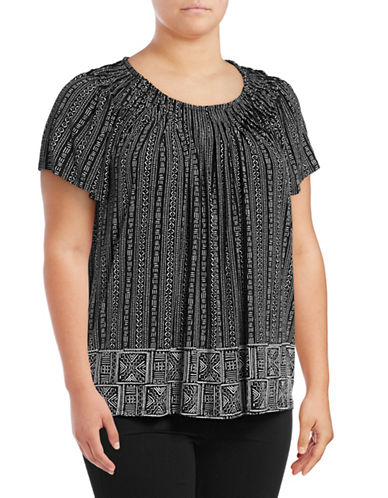 Style And Co. Plus Printed Pleat Neck Blouse-BLACK-2X