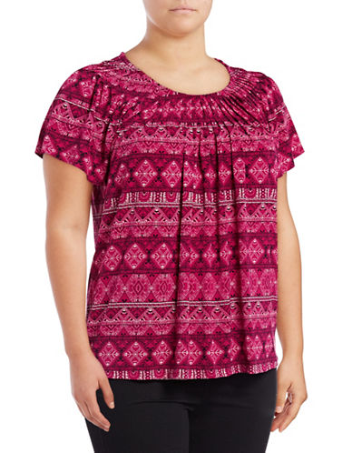 Style And Co. Plus Printed Pleat Neck Blouse-PINK-2X
