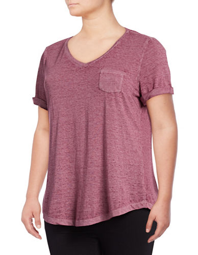 Style And Co. Plus Burnout V-Neck Pocket T-Shirt-PURPLE-1X