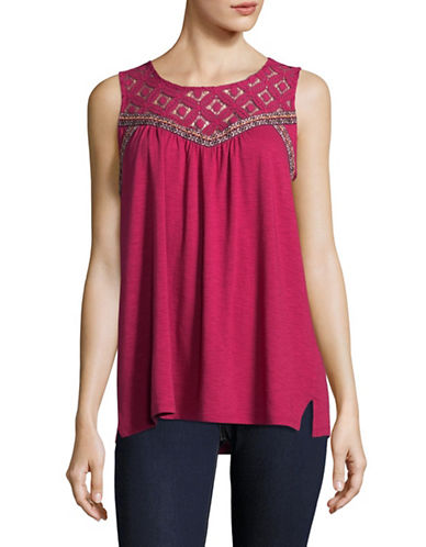 Style And Co. Lace Yoke Sleeveless Top-PINK-X-Large