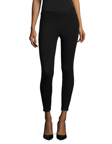 Style And Co. Petite Studded Mid Rise Leggings-DEEP BLACK-Petite X-Small