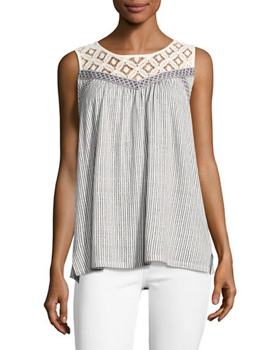 Style And Co. Striped Lace Yoke Top-WHITE-Large