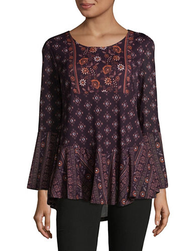 Style And Co. Petite Scoop neck Bell Sleeve Tunic-SANTA FE-Petite Large
