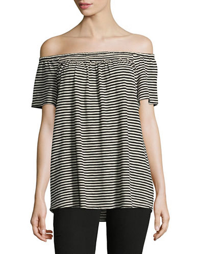 Style And Co. Stripe Off-The-Shoulder Top-BLACK-XX-Large