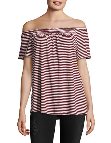 Style And Co. Stripe Off-The-Shoulder Top-PURPLE-Small