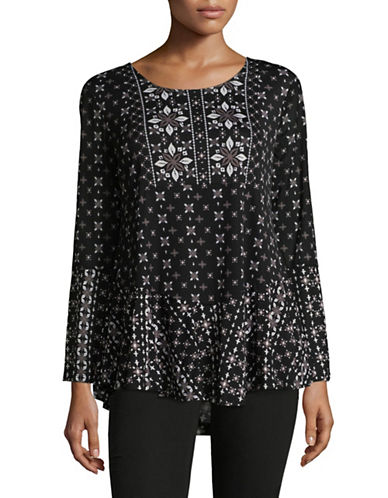 Style And Co. Petite Scoop neck Bell Sleeve Tunic-BLACK/WHITE-Petite Medium