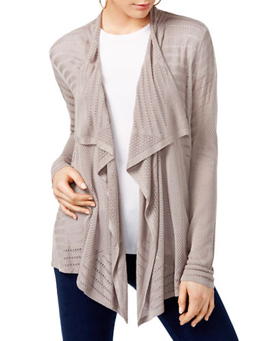 I.N.C International Concepts Petite Draped Pointelle Cardigan-BEIGE-Petite Large