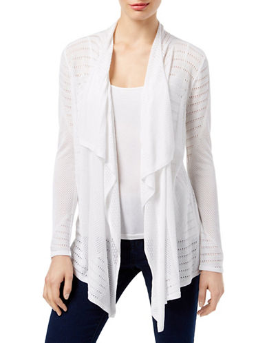 I.N.C International Concepts Perforated Cozy Cardigan-WHITE-Small