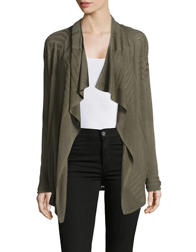 I.N.C International Concepts Petite Draped Pointelle Cardigan-GREEN-Petite Medium