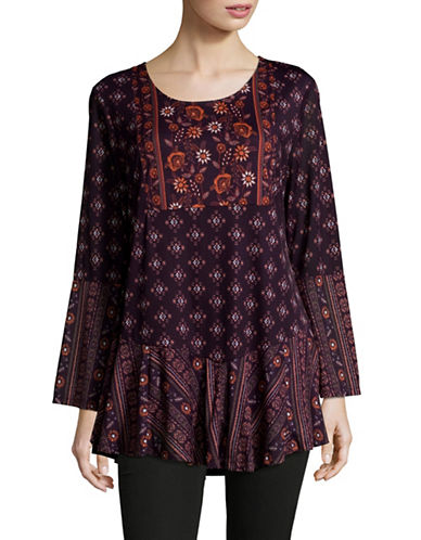 Style And Co. Scoop Neck Bell Sleeve Tunic-PURPLE-Large