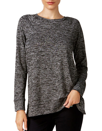 Style And Co. Marled Crew Neck Shirt-BLACK-Small