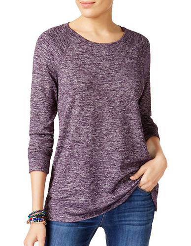 Style And Co. Marled Crew Neck Shirt-PURPLE-X-Large