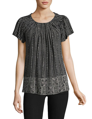 Style And Co. Printed Pleat Neck Blouse-BLACK MULTI-Small