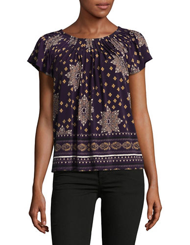 Style And Co. Petite Floral Print Pleated Top-PURPLE-Petite Small