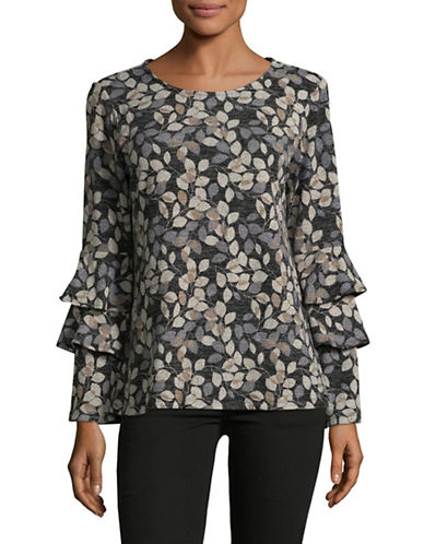 Style And Co. Tiered Bell-Sleeve Printed Top-BLACK-Medium
