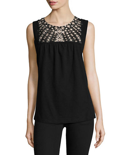 Style And Co. Petite Embroidered Sleeveless Top-BLACK-Petite Large