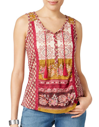 Style And Co. Petite Embroidered Peasant Top-PURPLE MULTI-Petite Large