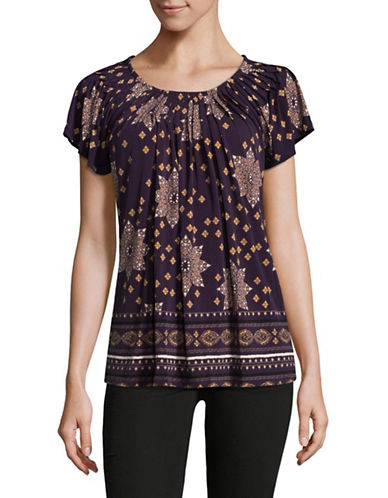 Style And Co. Floral Print Pleated Top-PURPLE-XX-Large