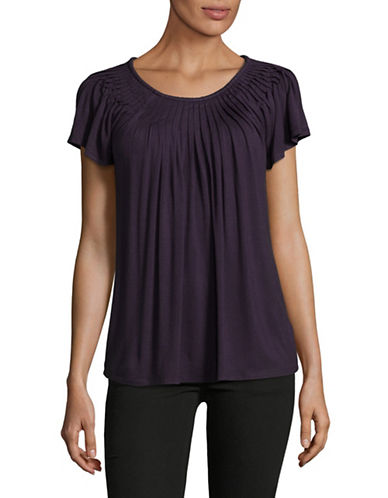 Style And Co. Short Sleeve Pleat Neck Top-PURPLE-XX-Large