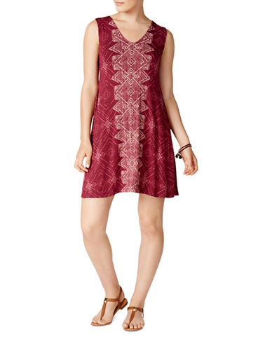 Style And Co. Petite Crisscross Back Swing Dress-PURPLE-Petite Medium
