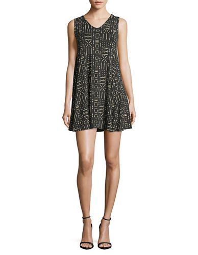 Style And Co. Petite Printed V-Neck Swing Dress-GREY-Petite Small