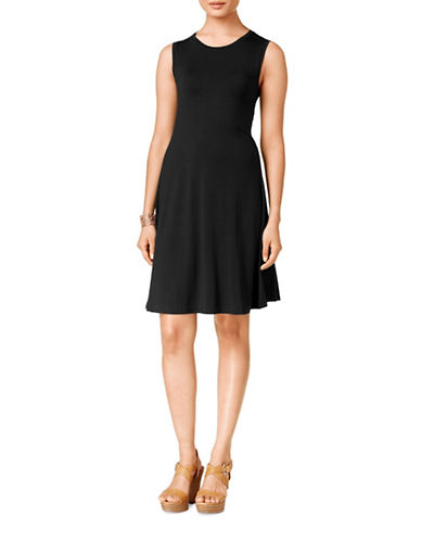 Style And Co. Sleeveless A-Line Swing Dress-BLACK-XX-Large