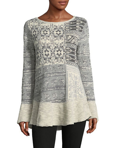 Style And Co. Petite Jacquard Flare Ruffle Sweater-GREY-Petite Large