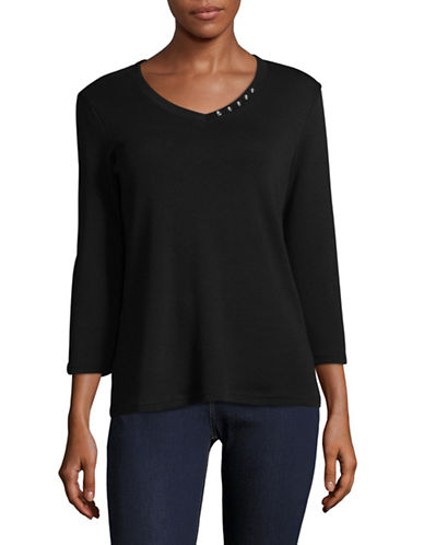 Karen Scott Button-Detail V-Neck Top-BLACK-Small