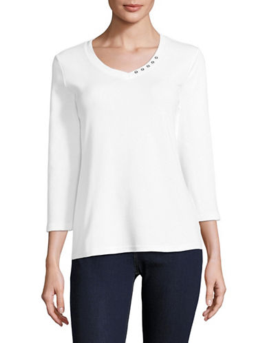 Karen Scott Button-Detail V-Neck Top-WHITE-Large