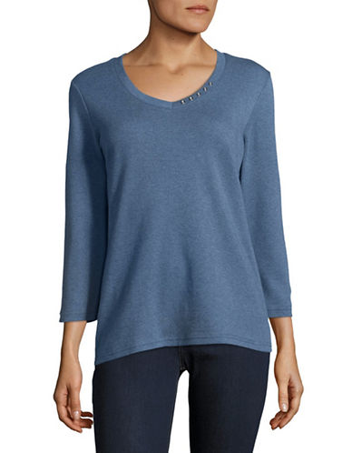 Karen Scott Button-Detail V-Neck Top-BLUE-X-Large